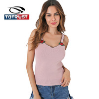 TOTRUST Rose Floral Embroidery Tank Top 2017 Sexy Women Sleeveless V Neck Camis Vest Crop Top