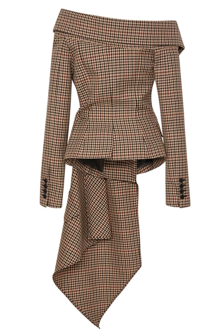 European Early Autumn New Women Irregular Cut Flanged Single Collar Shoulders Waist Checked Suit Jacket Fashion Lattic Coats