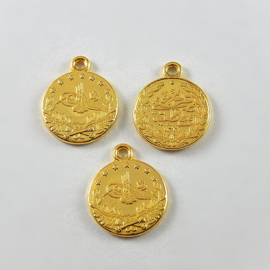 Gold Charm Bracelet Charms: 20pc/lot Silver Gold Coin Alloy Round Necklace Pendant