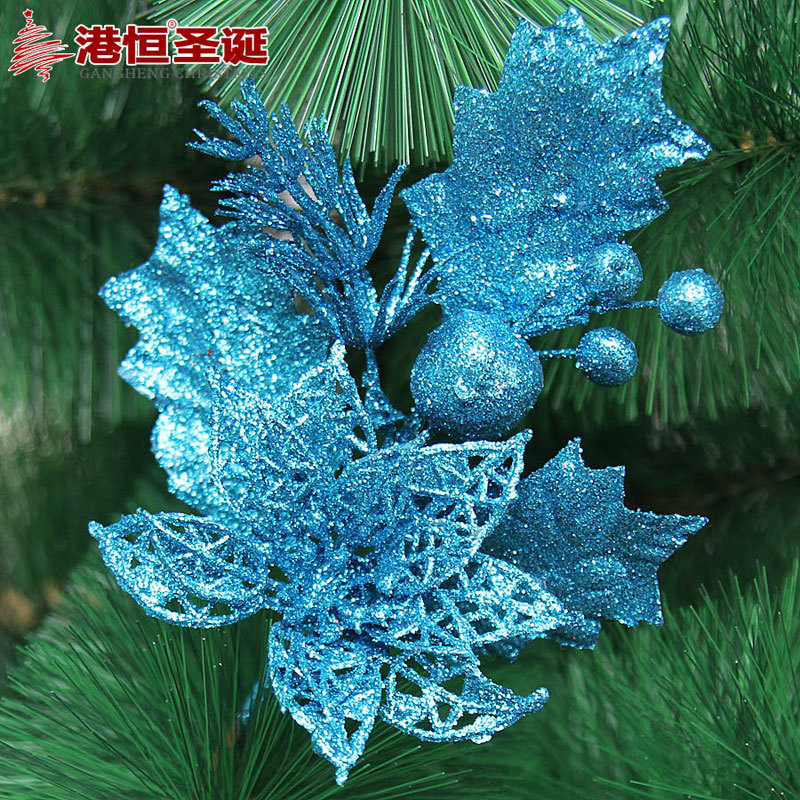 gold silver blue artificial christmas flowers decoration plastic christmas tree ornament decorations shining bling bling flower in trees from home garden