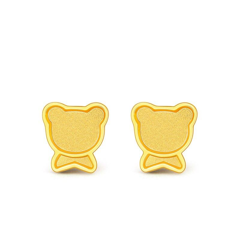Solid 999 24K Yellow Gold Earrings Women Bear Stud Earrings 1.38g