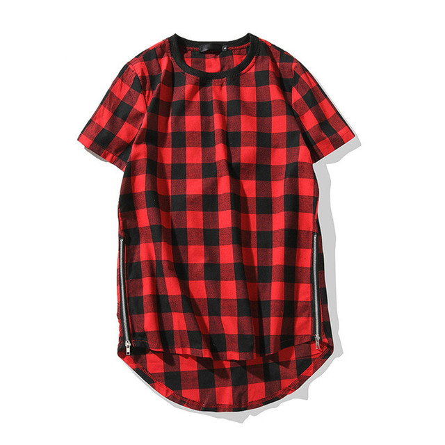 1e8dbde4 Red Black Plaid Long Oversized T Shirt Men Streetwear Hip Hop Clothing Side  Zipper Curved Hem Extend Longline Tshirt Summer Tops