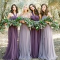 Vestido de dama de honra de noiva roxo e preto Chiffon A linha vestido de casamento da dama de honra conversível