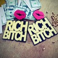 165E  New Arrival RICH BITCH Sexy Mouth Hip Hop Stud Earrings For Night Club Women  Boss Lady Statement Show Accessories