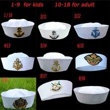 Военные шапки, Белая Шляпа капитана моряка, морские шапки с якорем, армейские шапки для мужчин и женщин, Детские причудливые шапки для косплея, аксессуары