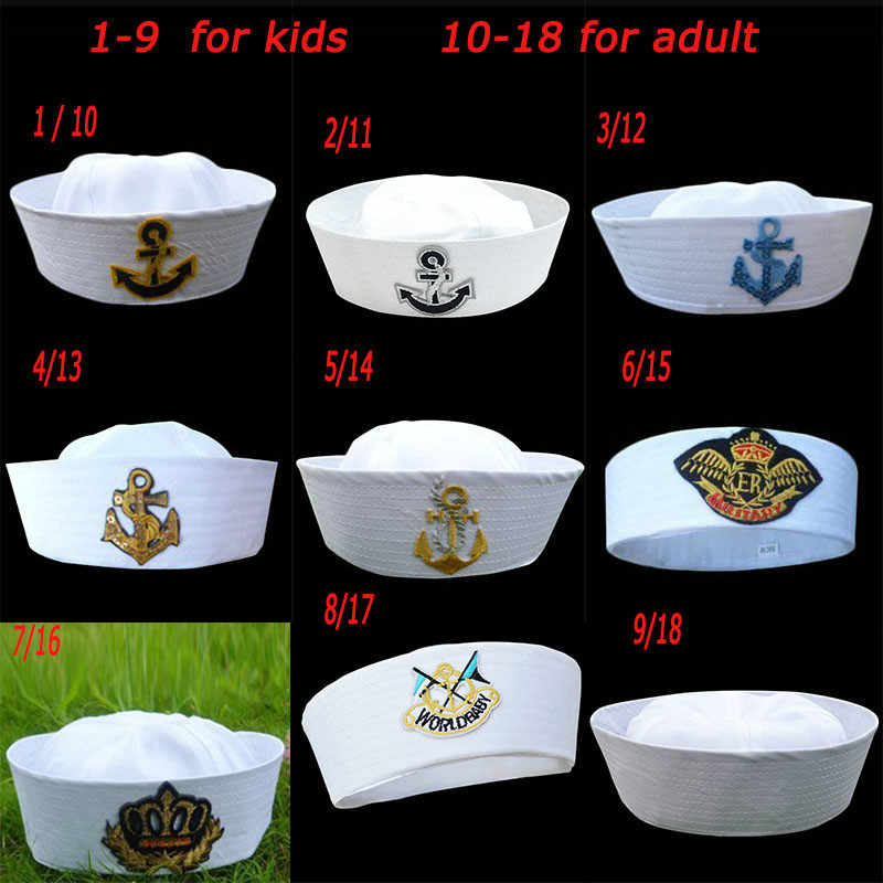 Military Hats White Captain Sailor Hat Navy Marine Caps with Anchor Army Hats for Women Men Child Fancy Cosplay Hat Accessories