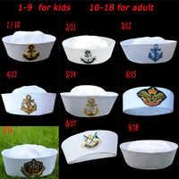 Militär Hüte Weiß Kapitän Sailor Hut Navy Marine Kappen mit Anker Armee Hüte für Frauen Männer Kind Phantasie Cosplay Hut zubehör