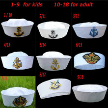 лучшая цена Military Hats White Captain Sailor Hat Navy Marine Caps with Anchor Army Hats for Women Men Child Fancy Cosplay Hat Accessories
