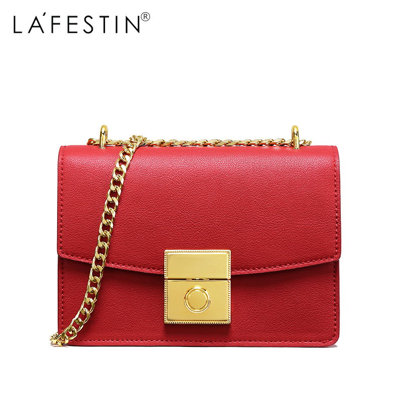 купить LAFESTIN Women Shoulder Bag Brand Luxury Famous Flap Bag 2018 New Fashion Handbag Ladies Metal Chain Crossbody Bag по цене 3180.24 рублей