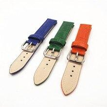 Venta al por menor-1 UNIDS 18mm banda reloj de cuero genuino correa de reloj azul, verde, naranja color disponible-091302