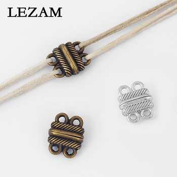 10pcs Magnetic Clasps 2 Row Tone Antique Bronze Stripe Pattern End Connector For Leather Cord Bracelet Jewelry Findings