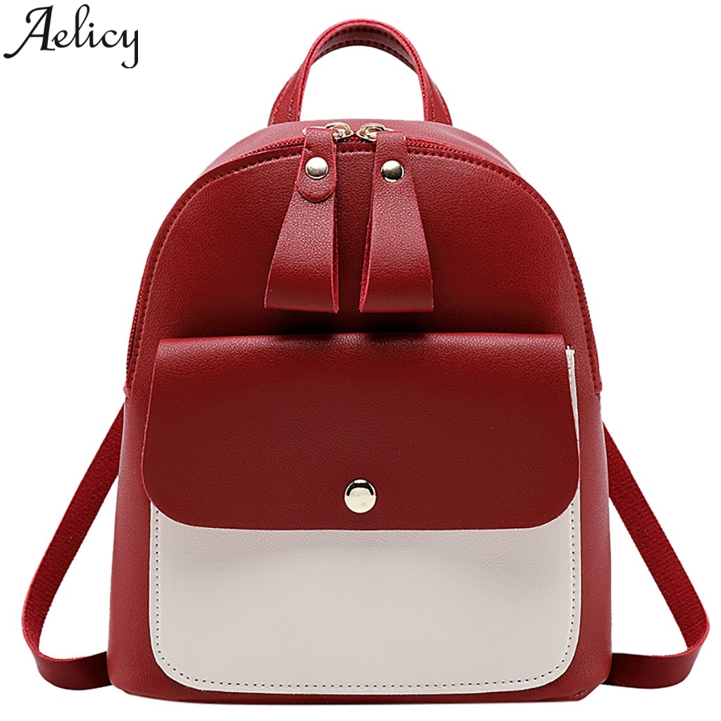 Aelicy Womens Backpack Double Pull Color Color Bag Suitable For Girls And Girls College Style Small BackpackAelicy Womens Backpack Double Pull Color Color Bag Suitable For Girls And Girls College Style Small Backpack