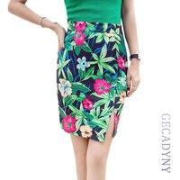 S-3XL 3D flower print women pencil skirts 2017 new fashion lady slim faldas vogue girls casual bottoms drop shipping wholesale