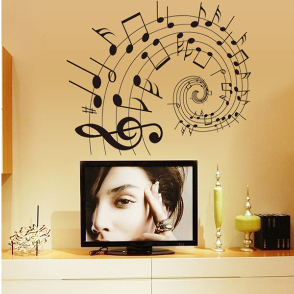 Music Notes treble clef Swirl Wall decals Removable stickers kids ...