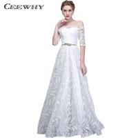 CEEWHY Half Sleeve Robe De Soiree White Evening Dresses Women Luxury Formal Gown Long Prom Dresses Robe Rouge Abendkleider
