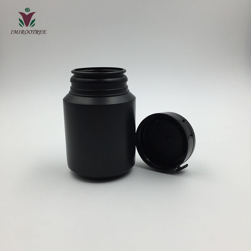 500pcs 100ml Black HDPE Chewing Gun Container with Tear off Caps