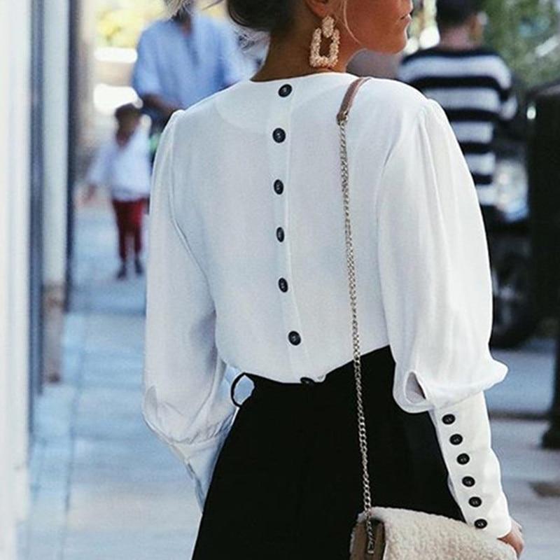 Bella Philosophy 2019 SpringV-neck women blouse Full sleeve button white blouse lady shirt  Female office chiffon blouse tops белая рубашка с объемными рукавами и вырезом