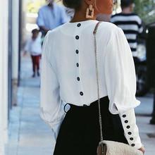 Bella philosophy 2019 springv-neck kobiety bluzka pełny guzik na rękawie biała bluzka koszula damska kobieta szyfon do biura bluzka topy tanie tanio Poliester REGULAR Na co dzień Suknem Pełna Łączone Stałe White S M L BL026SH