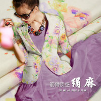 35 mommie chinese wind printing heavy silk fabric silk linen cloth long skirt fabric small suit clothing fabric