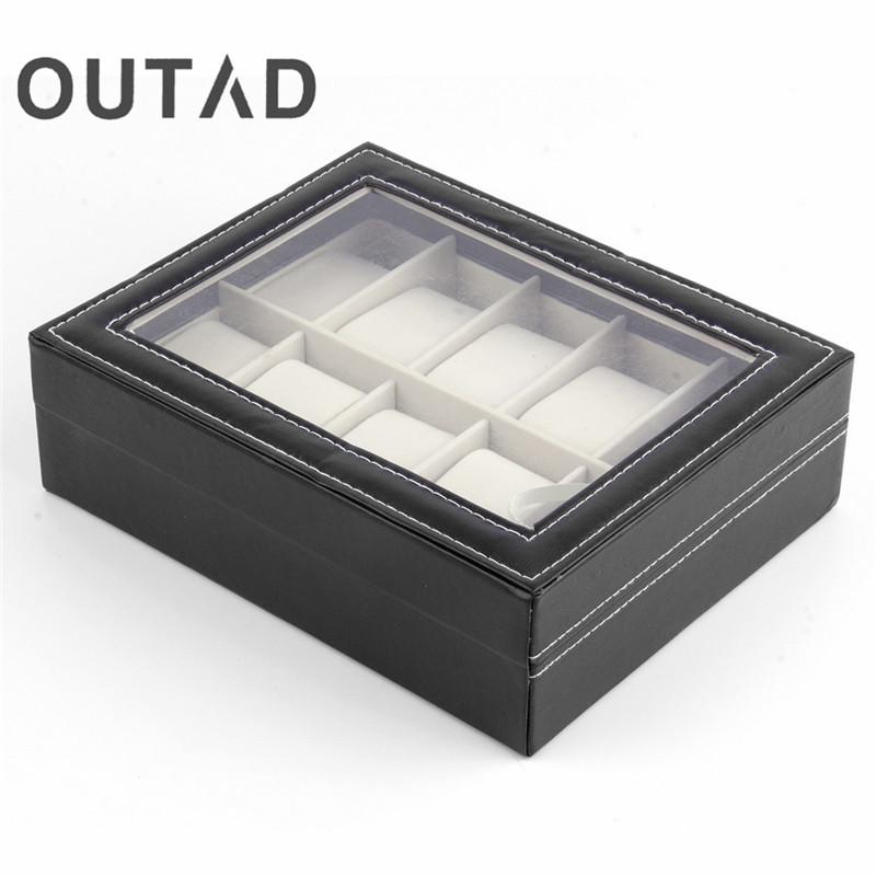 Prix pour En Cuir de luxe 10 Grille Slots Montres Afficher Boîte Carré Bijoux Cas De Stockage Organisateur Titulaire caixa relogio