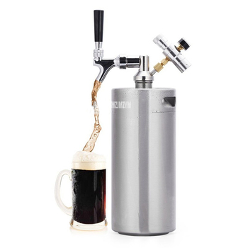 2L/3.6L Stainless Steel Beer Mini Keg Mini Air Pressure Faucet Can Barrel Wine Brewing Tool Bar Nightclub Restaurant Home Use
