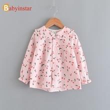 Babyinstar Girls Blouse Shirts For Kids Clothing Lovely Cherry Print Long Sleeve Blouses Children Casual