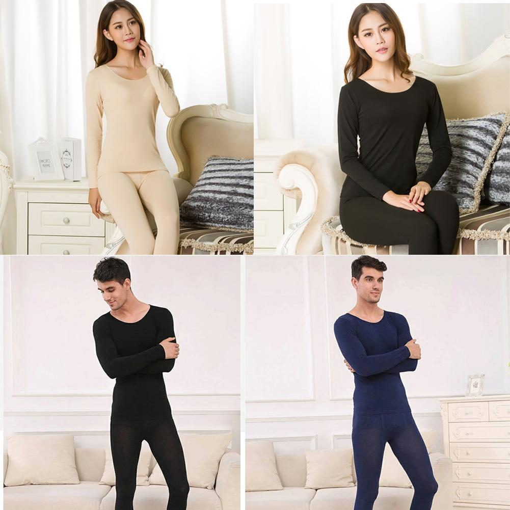 Hot Winter Women Men Warm Thermal Underwear Long Johns Sexy Black Thermal Underwear Thick Plus Velet Long Johns For Lady