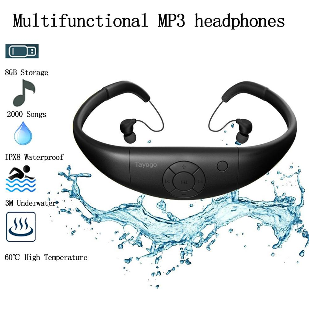 Tayogo IPX8 100 Waterproof MP3 Underwater Sports swimming MP3 Music Player Bluetooth headphone with FM Pedo