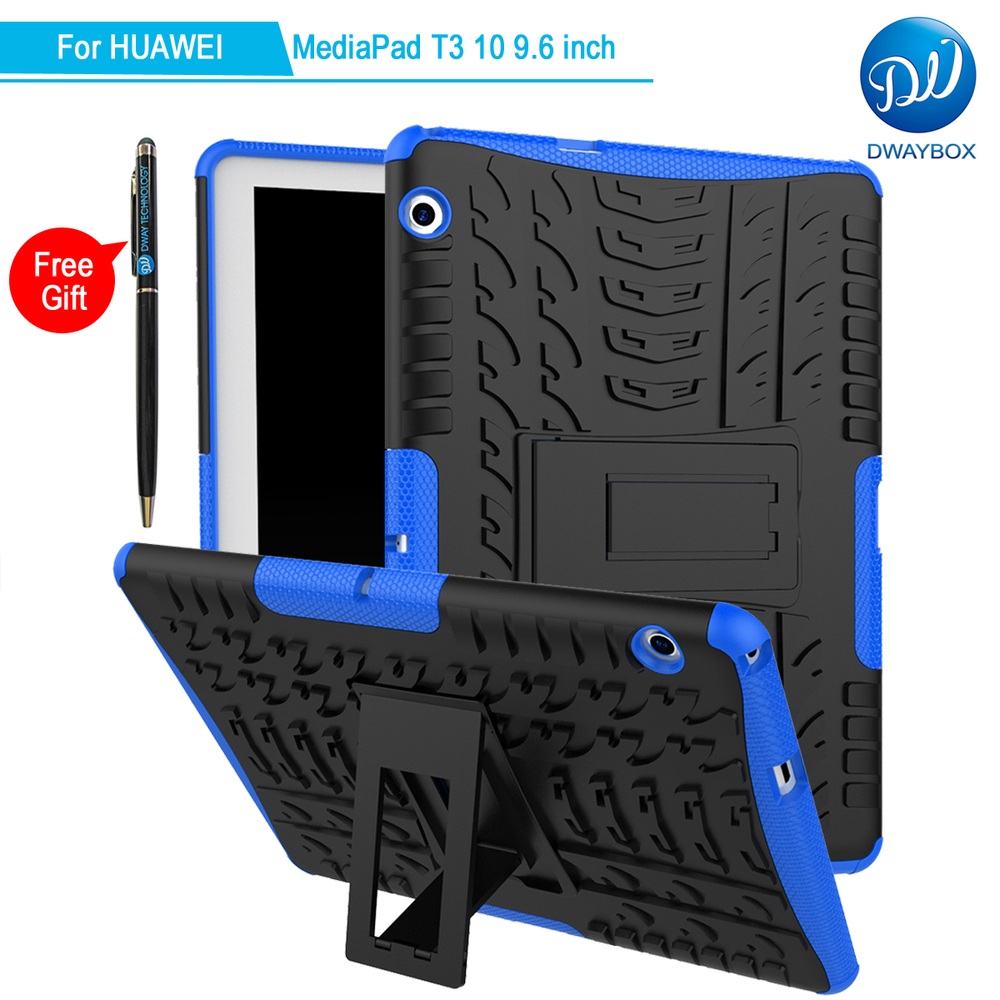 DWAYBOX Case For Huawei MediaPad T3 10 9.6 inch 2in1 Dual Layers Spider Pattern Shockproof Protective Cover With Stand Fundas cover case for huawei mediapad m3 youth lite 8 cpn w09 cpn al00 8 tablet protective cover skin free stylus free film