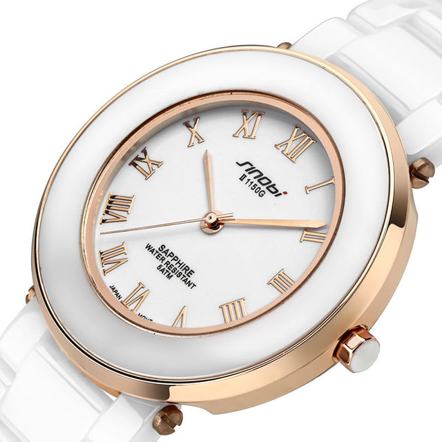 SINOBI luxury brand керамические часы женщины Повседневная все-керамические Водонепроницаемый кварцевые часы Высококлассные женщины платье часы relogio feminino