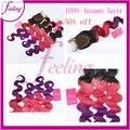 Деграде натуральная человеческий волос объёмная волна три тона 3 пучки 1B / розовый / фиолетовый с кружево закрытие отбеленный узлы