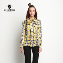 EE Printed Blouse Women 2017 Spring Summer Women Shirt Blouse Summer Vintage Luxury Women Blouse