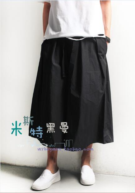S-6XL!!2018 Self-made men and women wear black samurai trousers with a pair of wide leg slacks