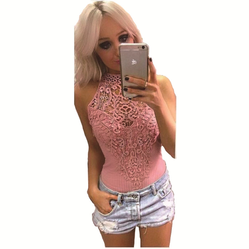 2017 woman sexy O-Neck sleeveless lace stitching tight jumpsuit hollow out Solid color fitness jumpsuit Shorts Rompers