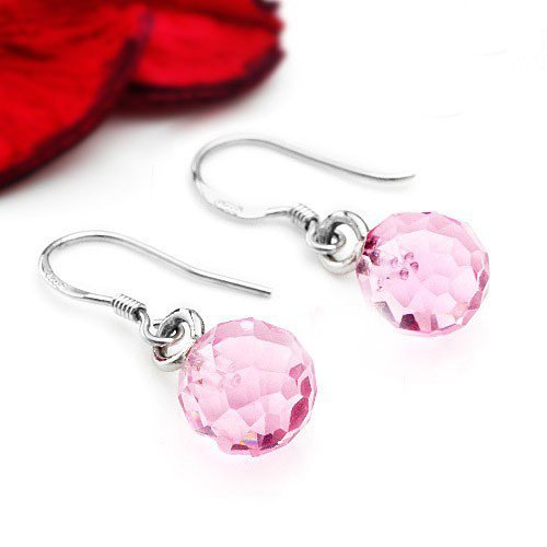 fashion jewelry 925 sterling silver earrings chandeliers pink crystal earrings chandeliers platinum-plated 10pcs