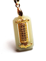Fine Jewelry 24K Gold Thailand Scripture Wishing Rotation Pendant White Jadees with Silver Chain Necklace Gifts