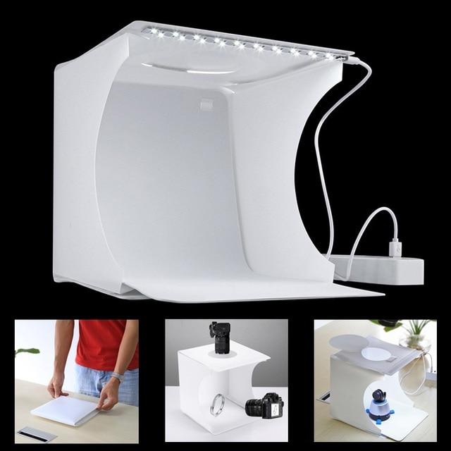 Mini Portátil Dobrável Mesa de Luz Estúdio de Fotografia Suave caixa de Luz LED foto Suave Box para iphone Câmera DSLR Foto Fundo
