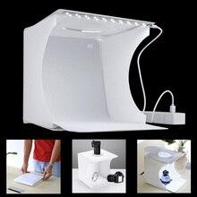 Mini caja de luz plegable portátil para estudio de fotografía caja suave de luz LED para foto caja suave para iphone DSLR cámara de fondo fotográfico