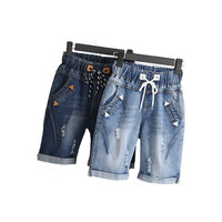 2018 Plus Size 4XL 5XL Verão Ripped Pants Jeans Curto Mulheres Casual Lace Up Senhoras Capris Perna Larga Denim Calças Harém Calças de Brim C3200