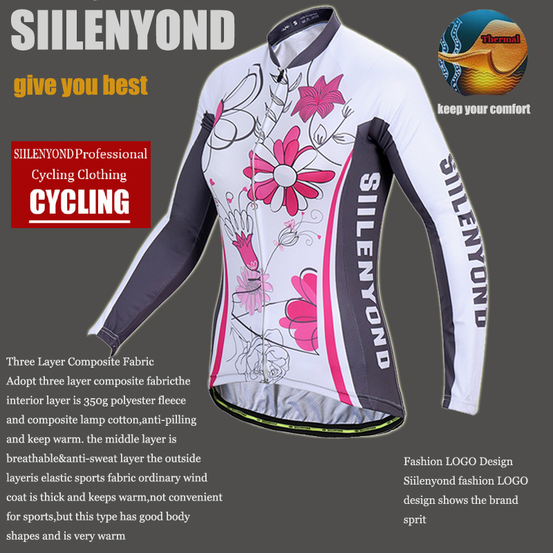 Siilenyond 2019 Winter MTB Bike Cycling Clothing Keep Warm Cycling Jersey Mountain Bicycle Cycling Clothes For Women 5