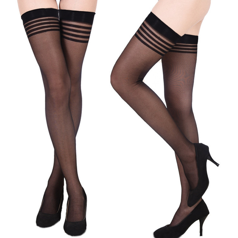 15D Womens Sexy Anti-slip Silk Stockings Transparent Hot Thigh High Striped Over Knee Stockings Big Size