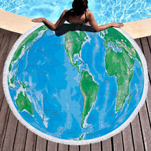 World Map Bohemia Large Beach Towel 500G Thick Round With Tassels Microfiber 150cm Picnic Mat Shawl Blanket Cover Up