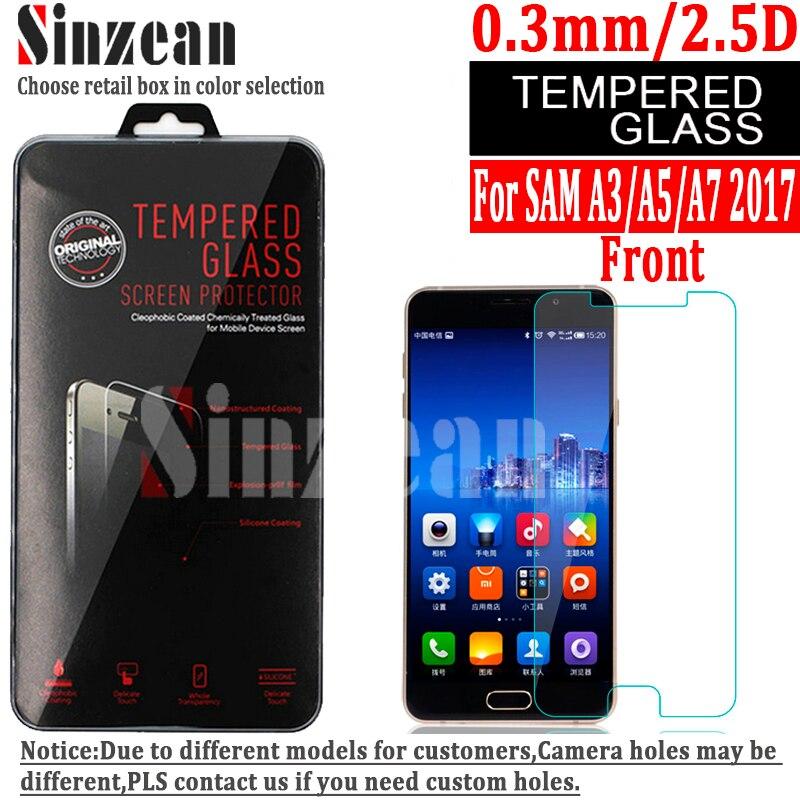 imágenes para Sinzean 100 unids Para samsung galaxy A7/A5/A3 2017 A720/A520/A320 de pantalla de cristal templado protector (0.3mm/2.5d/9 H)