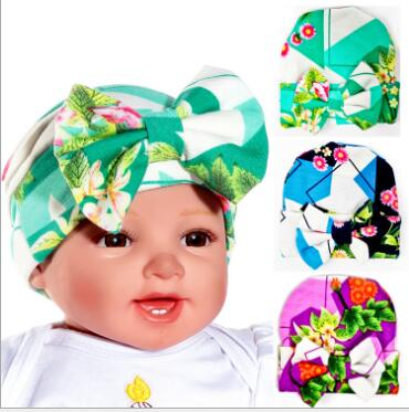 98420679cb2 unisex Hat beanie with big bow girls and boys Floral Hospital Hat  accessories free size 0-3 months