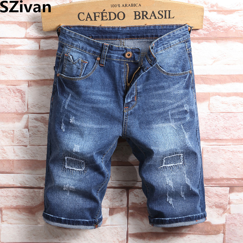 Mens Ripped Short Jeans Brand Clothing for male Denim pants