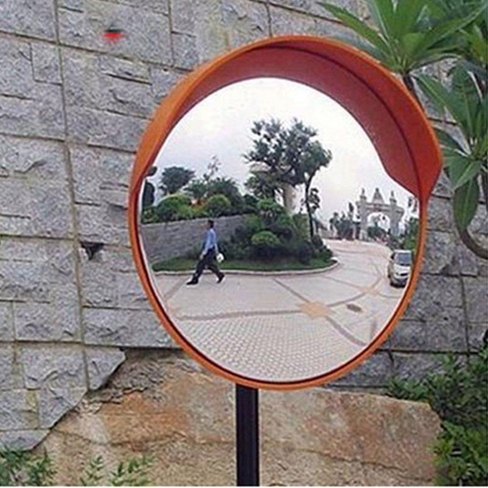 30cm Convex Mirror Distance Red Outdoor 30cm/12'' Supermarket Garage Angle Parking Security Street Curved Road