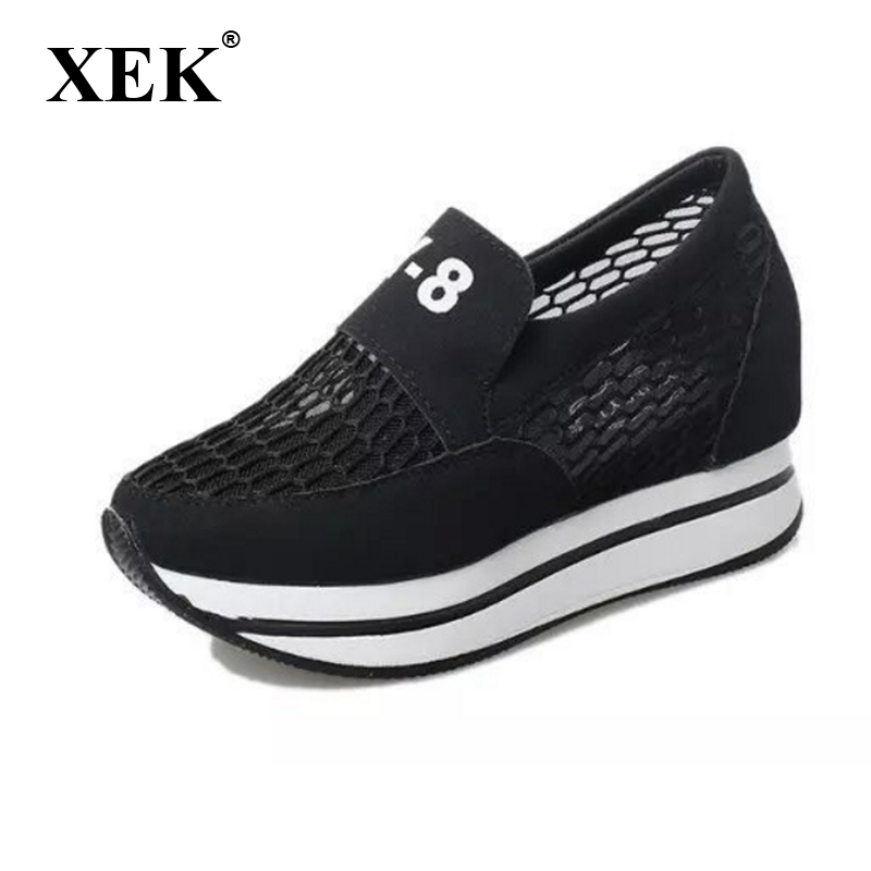Fashion Breathable Air Mesh Women Casual Shoes Lightweight Platform Shoes Summer Women Shoes Height increase Swing Shoes ST187