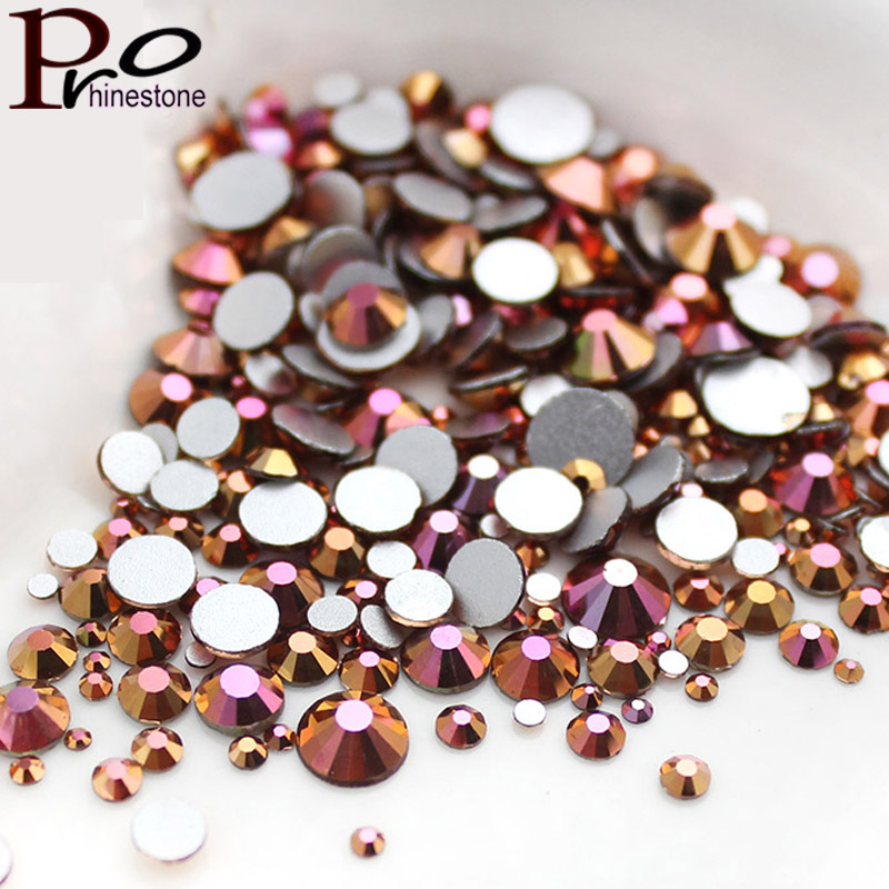 Mix SS3-SS30 Gold Rose AB Nail Art Rhinestones Glass Flatback Crystal Non Hotfix Nail Rhinestones For Nails Art 3D Decorations super shiny ss3 ss40 clear crystal ab 3d non hotfix flatback nail art decorations flatback rhinestones gold foiled stones