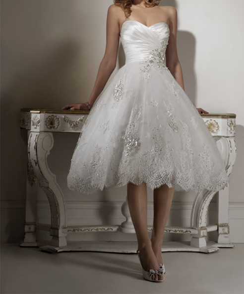 Tea Length Bridal Gown Beach Wedding Dress Short Summer 2