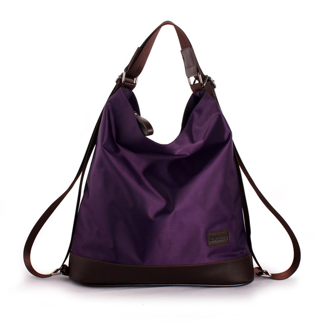 2017 Fashion Women Nylon Handbag Multifunction Waterproof Shoulder Bag Famous Designer Purple Bags Large Shopping Tote XA655H